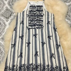 Pinstripe sundress with floral imprints